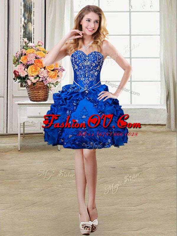 Royal Blue Ball Gowns Beading and Embroidery and Pick Ups Lace Up Organza and Taffeta Sleeveless Mini Length
