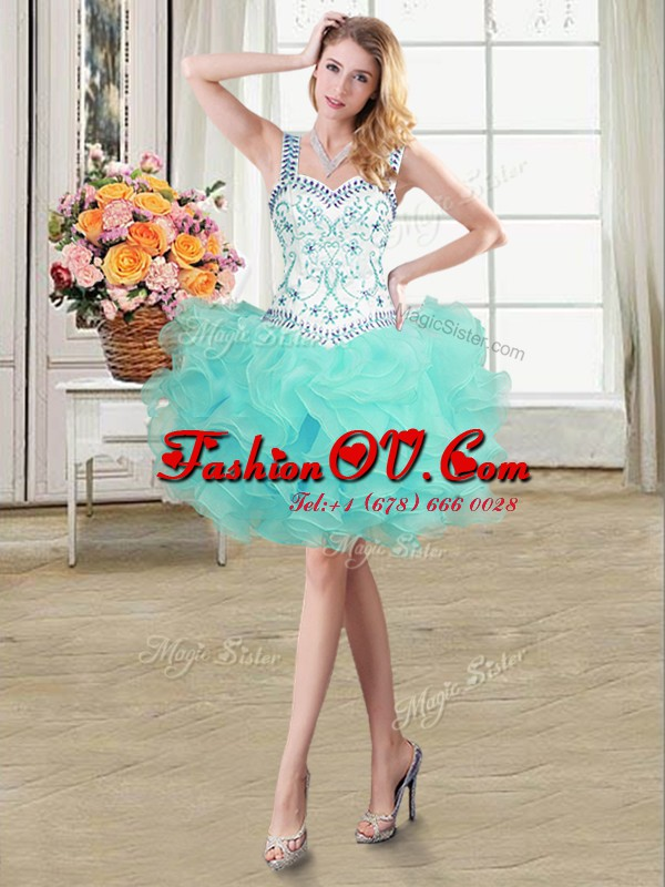 Organza Straps Sleeveless Lace Up Beading and Ruffles Prom Party Dress in Aqua Blue