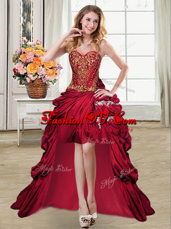 Sweetheart Sleeveless Taffeta Dress for Prom Beading and Appliques and Pick Ups Lace Up