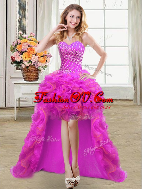 Purple Sleeveless Organza Lace Up Homecoming Dress for Prom and Party