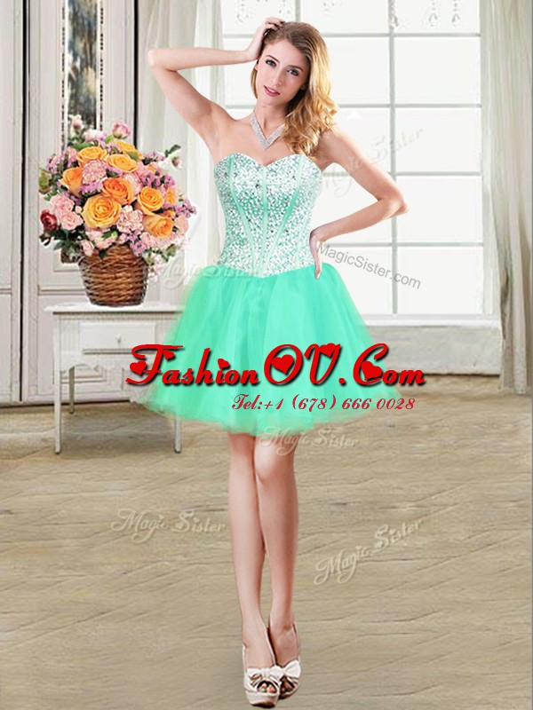 Beading Prom Evening Gown Turquoise Lace Up Sleeveless Mini Length