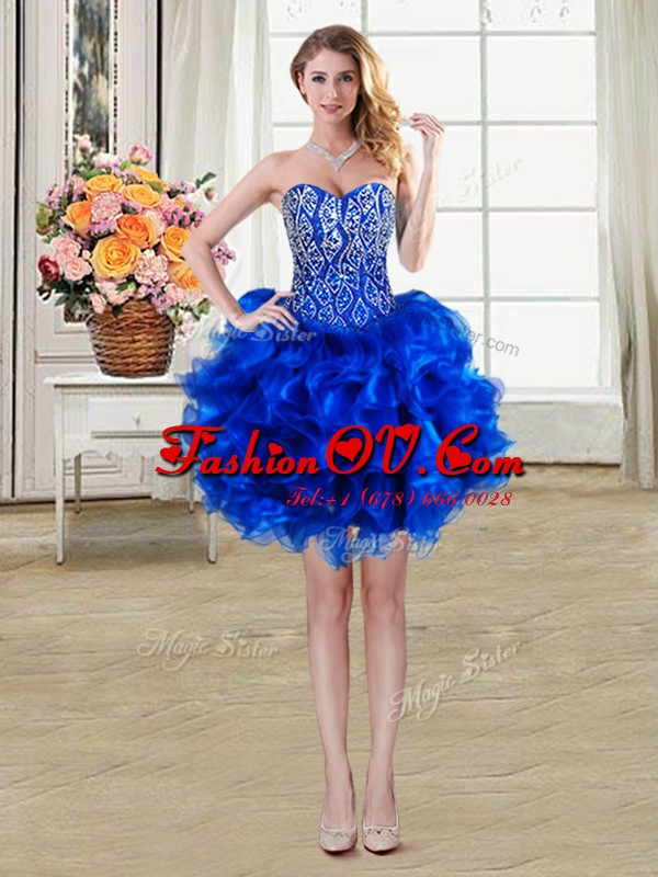 Royal Blue Ball Gowns Organza Sweetheart Sleeveless Beading and Ruffles Mini Length Lace Up Evening Dress