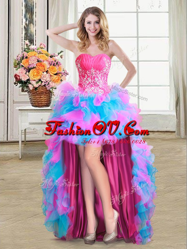 Flirting Multi-color Sweetheart Zipper Beading and Ruffles Prom Dress Sleeveless