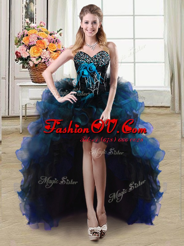 Organza and Tulle Sweetheart Sleeveless Lace Up Beading and Ruffles and Hand Made Flower Prom Party Dress in Blue