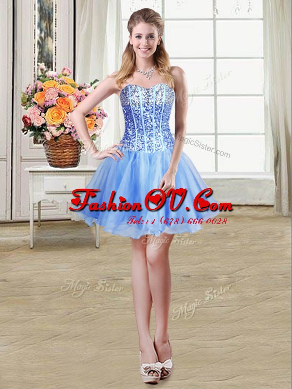 Sleeveless Mini Length Sequins Lace Up Dress for Prom with Blue
