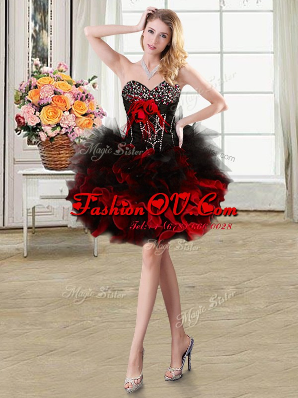 New Arrival Red Sweetheart Neckline Beading and Ruffles and Hand Made Flower Dress for Prom Sleeveless Lace Up