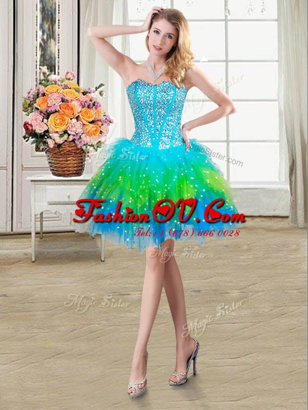 Sweetheart Sleeveless Tulle Prom Dresses Beading and Ruffles Lace Up