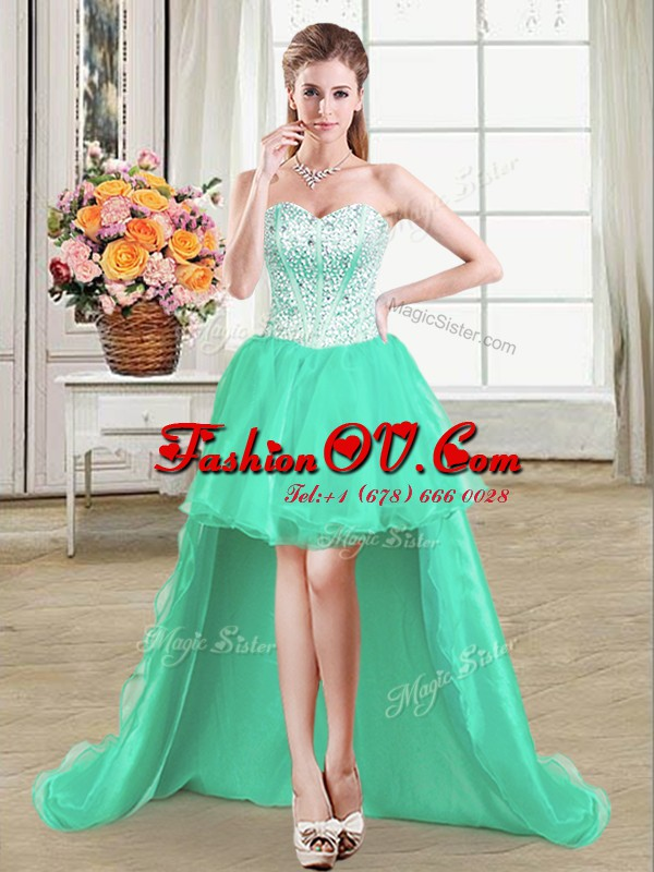 Romantic Sweetheart Sleeveless Homecoming Dress High Low Beading Turquoise Organza