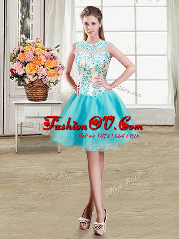 See Through Aqua Blue Scoop Zipper Beading Dress for Prom Sleeveless