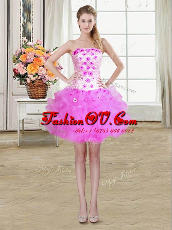 Top Selling Beading and Appliques and Ruffles Club Wear Lilac Lace Up Sleeveless Mini Length