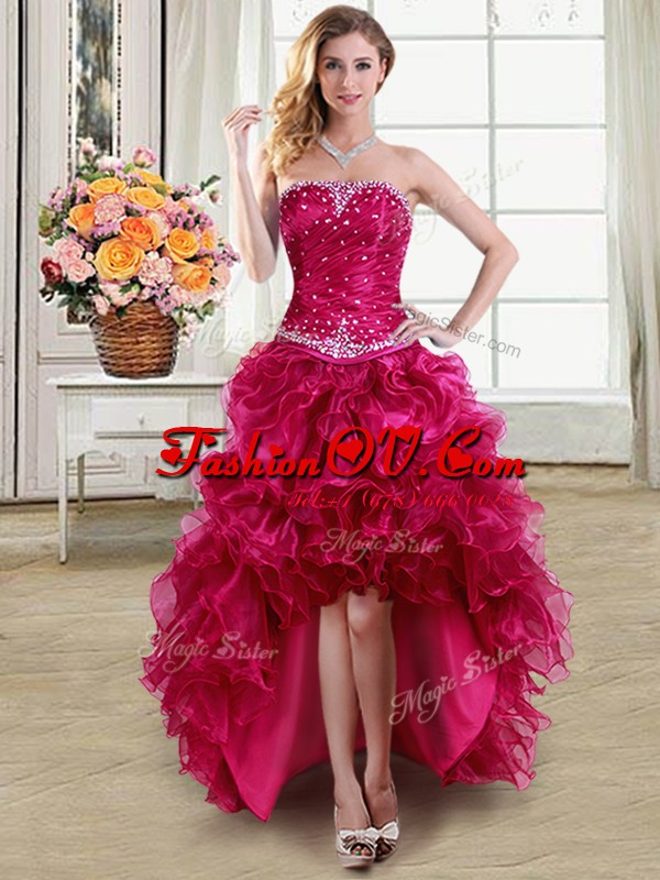 Lovely Sleeveless High Low Beading and Ruffles Lace Up Formal Dresses with Fuchsia
