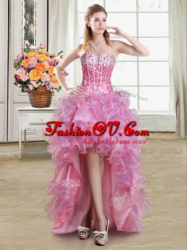 Custom Fit Sequins Sweetheart Sleeveless Lace Up Prom Gown Pink Organza