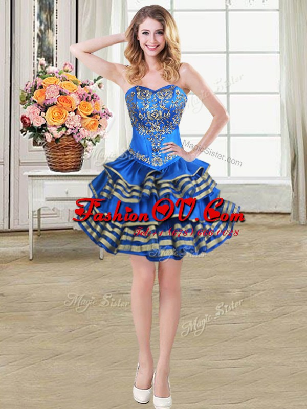 Blue Lace Up Sweetheart Beading and Embroidery and Ruffled Layers Cocktail Dress Taffeta Sleeveless