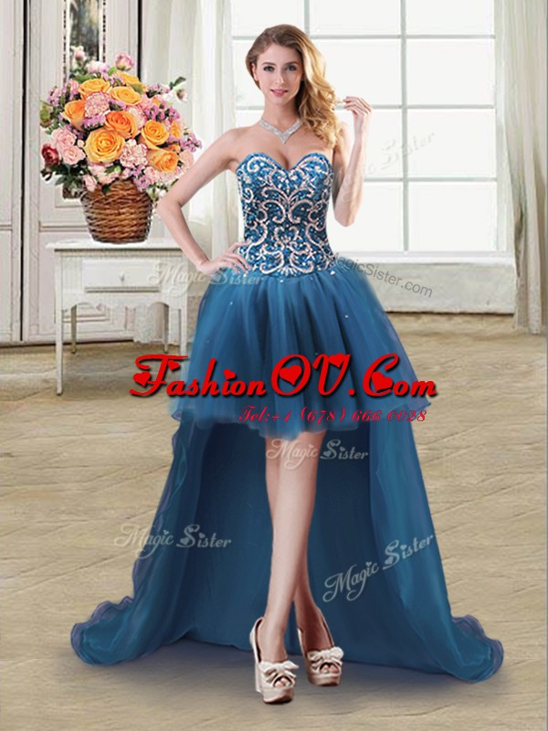 Fashionable Sweetheart Sleeveless Prom Party Dress High Low Beading and Sequins Teal Tulle