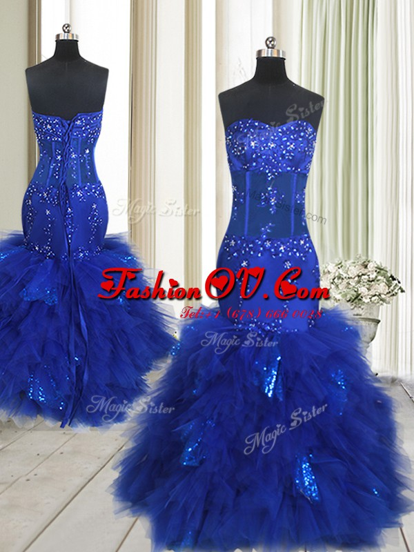 Beautiful Mermaid Floor Length Royal Blue Formal Evening Gowns Sweetheart Sleeveless Lace Up