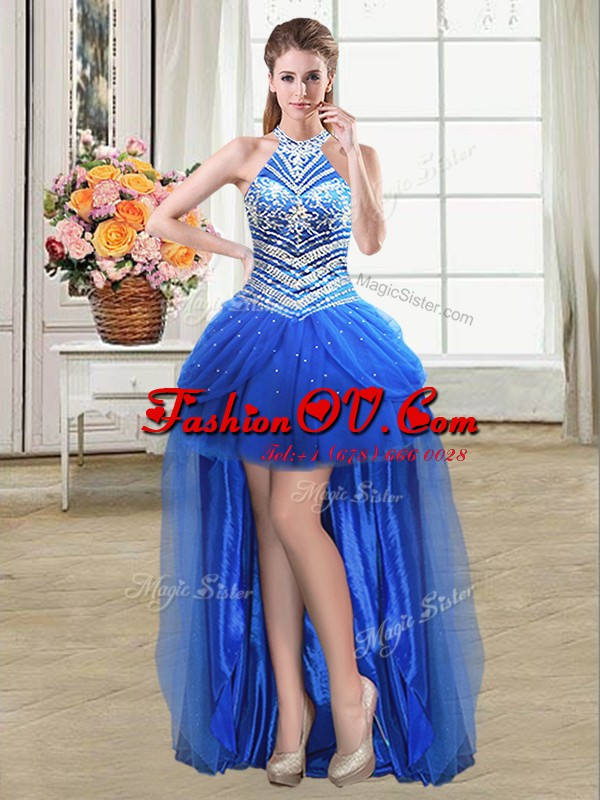 Flare Royal Blue Halter Top Neckline Beading and Pick Ups Dress for Prom Sleeveless Lace Up