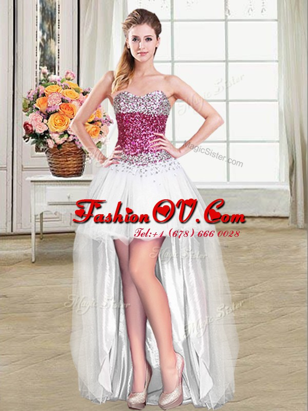 New Arrival Sweetheart Sleeveless Tulle Dress for Prom Beading Lace Up