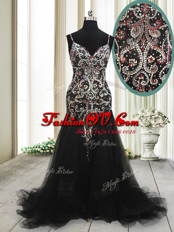 Mermaid Black Sleeveless Tulle Brush Train Zipper Dress for Prom for Prom and Party