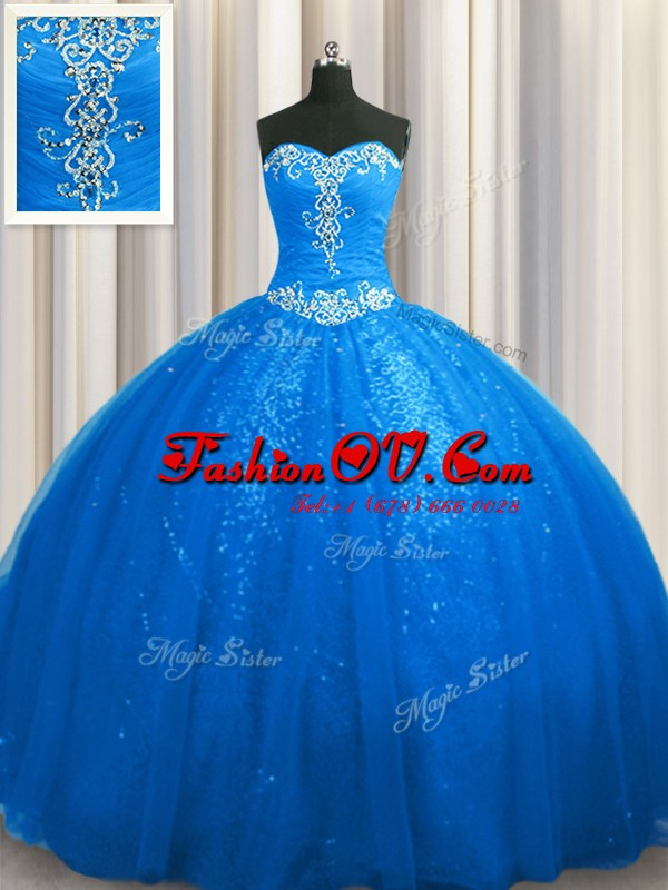 Blue Ball Gowns Tulle and Sequined Sweetheart Sleeveless Beading and Appliques With Train Lace Up Quinceanera Dresses Court Train