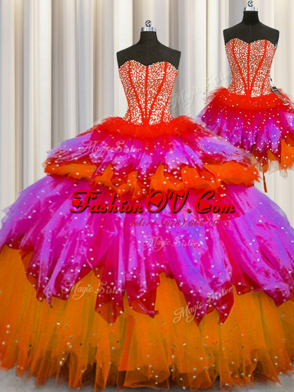 Three Piece Visible Boning Floor Length Lace Up 15 Quinceanera Dress Multi-color for Military Ball and Sweet 16 and Quinceanera with Beading
