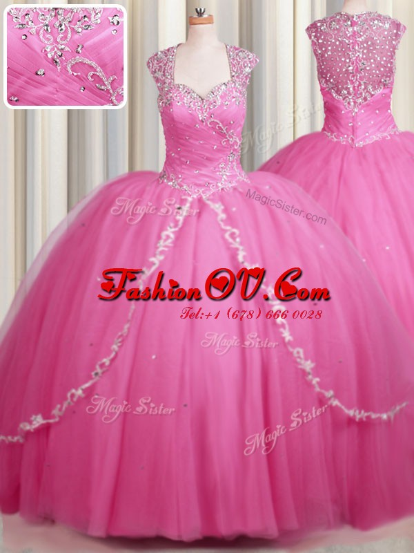 Super Zipper Up Rose Pink Zipper Sweet 16 Dress Beading and Appliques Cap Sleeves With Brush Train