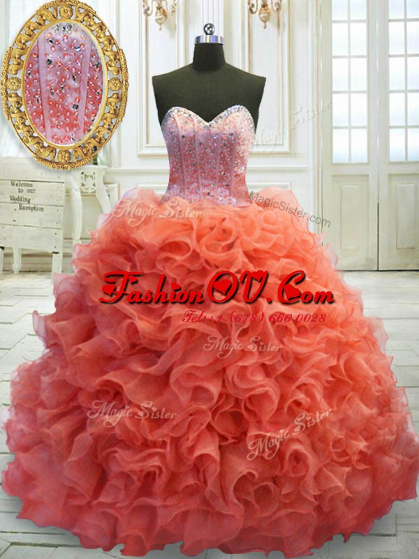 Perfect Coral Red Sweetheart Neckline Beading and Ruffles Ball Gown Prom Dress Sleeveless Lace Up