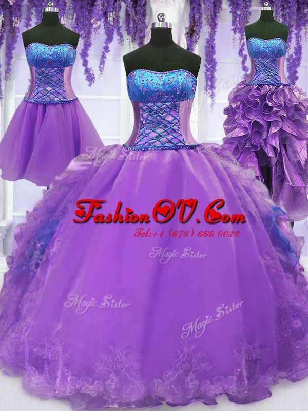 Noble Four Piece Lavender Strapless Neckline Embroidery and Ruffles Quinceanera Gowns Sleeveless Lace Up