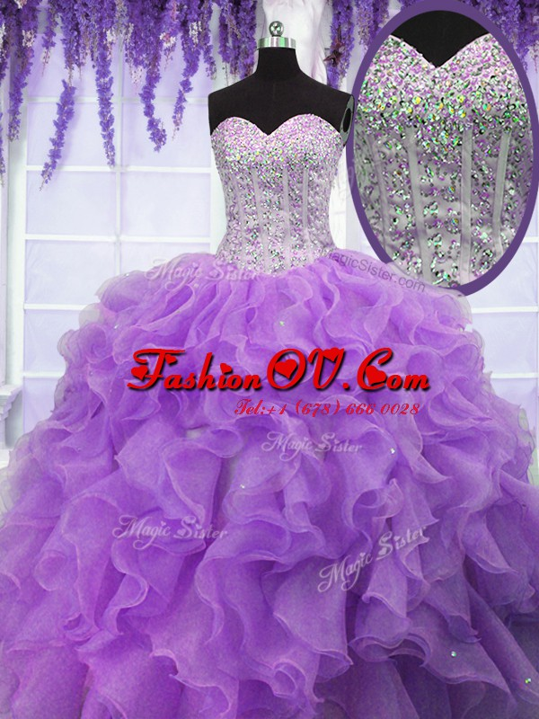 Trendy Sleeveless Organza Floor Length Lace Up Quince Ball Gowns in Lavender with Ruffles and Sequins