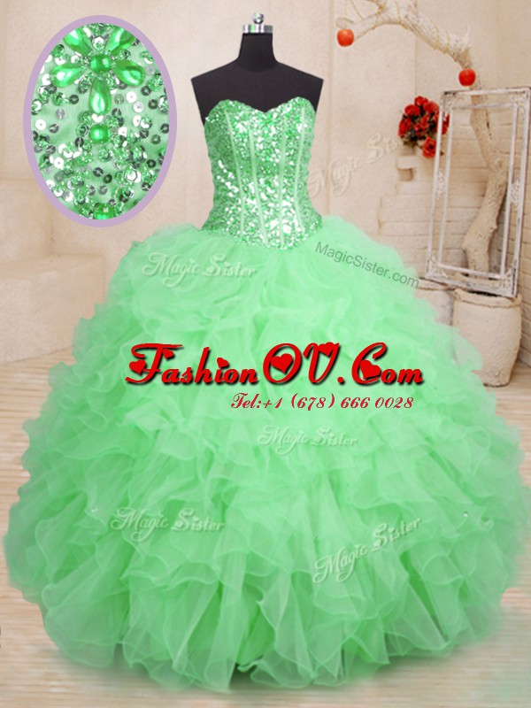 Trendy Green Sleeveless Floor Length Beading and Ruffles Lace Up Sweet 16 Dresses