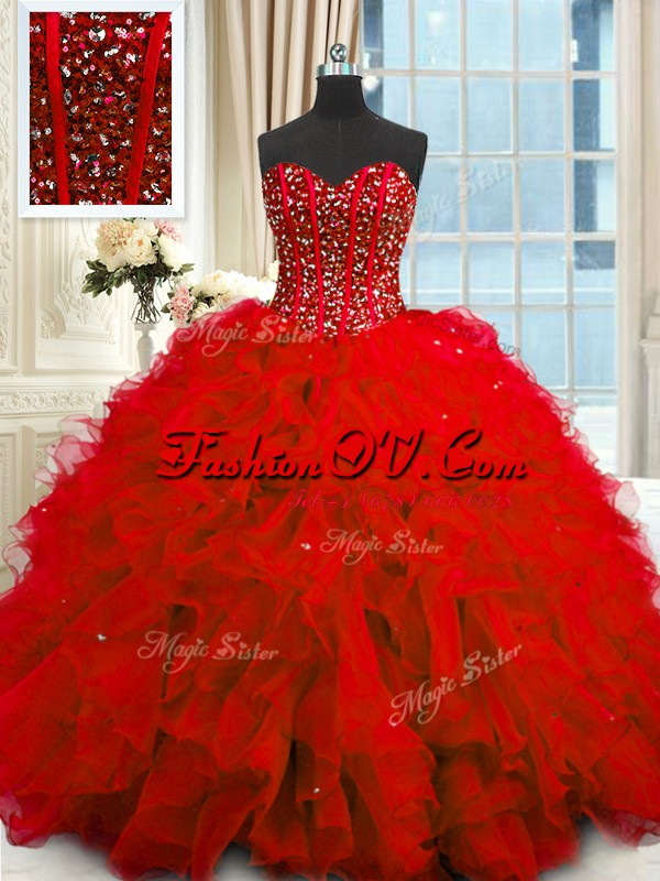 Dynamic Sequins Sweetheart Sleeveless Lace Up Sweet 16 Dress Red Organza