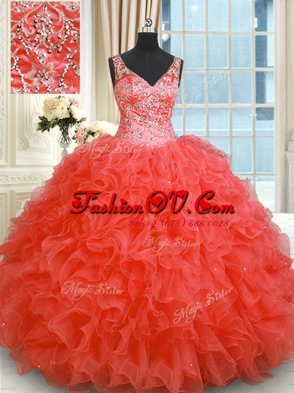 Fabulous Floor Length Ball Gowns Sleeveless Coral Red 15 Quinceanera Dress Zipper