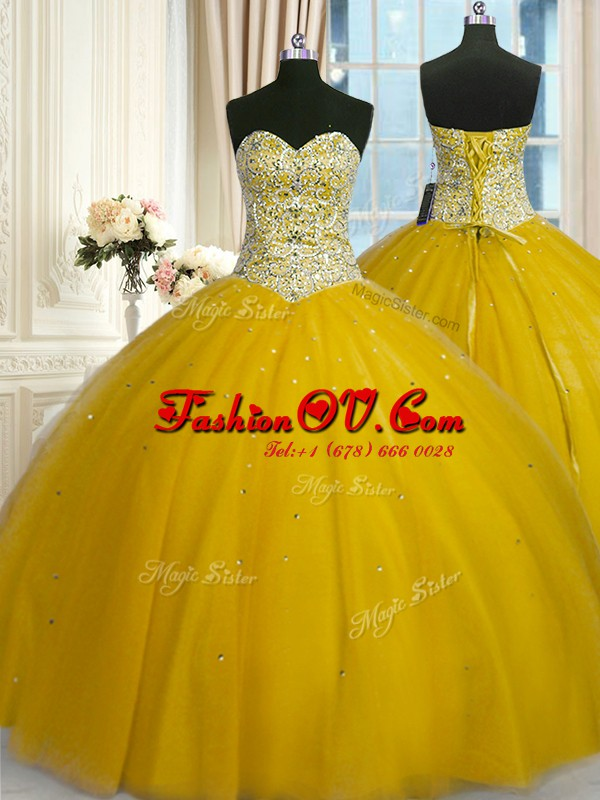 Sequins Floor Length Ball Gowns Sleeveless Gold Quince Ball Gowns Lace Up
