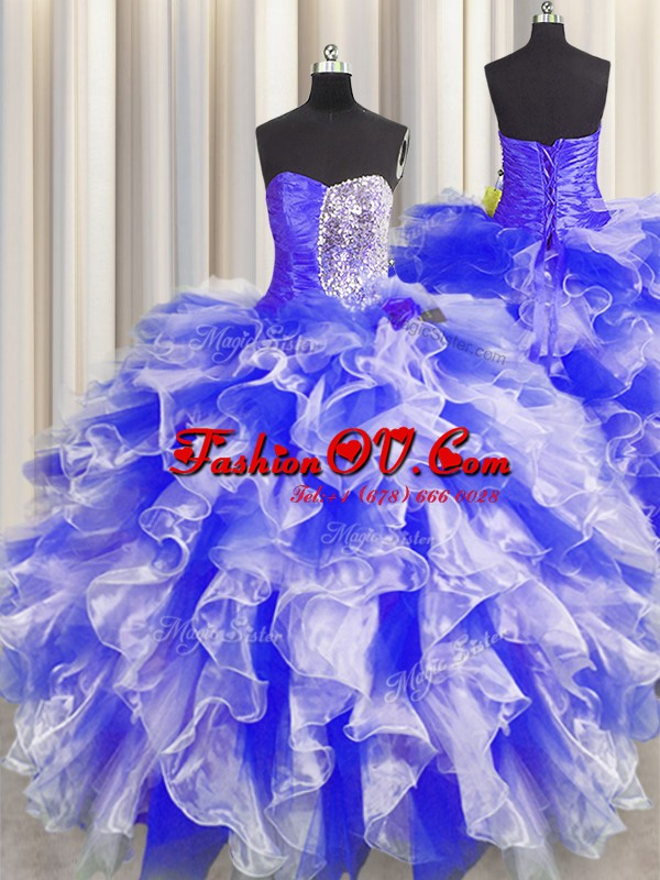 Noble Blue And White Ball Gowns Organza Sweetheart Sleeveless Beading and Ruffles and Ruching Floor Length Lace Up Sweet 16 Quinceanera Dress