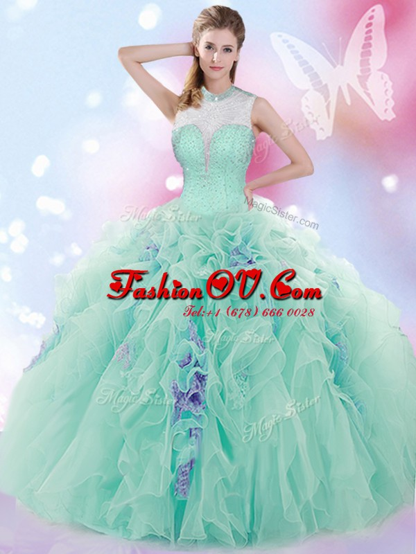 Popular Apple Green Lace Up Sweet 16 Dress Beading and Ruffles Sleeveless Floor Length