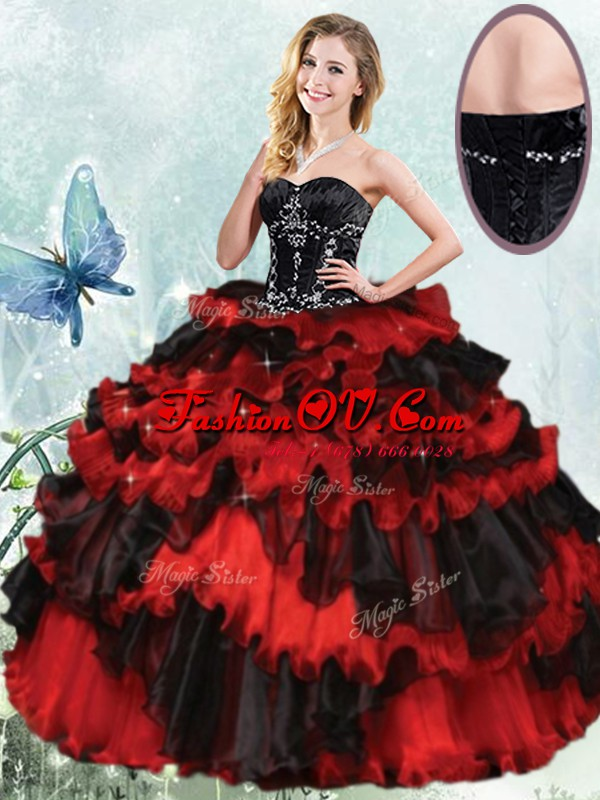 Clearance Ruffled Ball Gowns Ball Gown Prom Dress Red And Black Sweetheart Organza Sleeveless Floor Length Lace Up