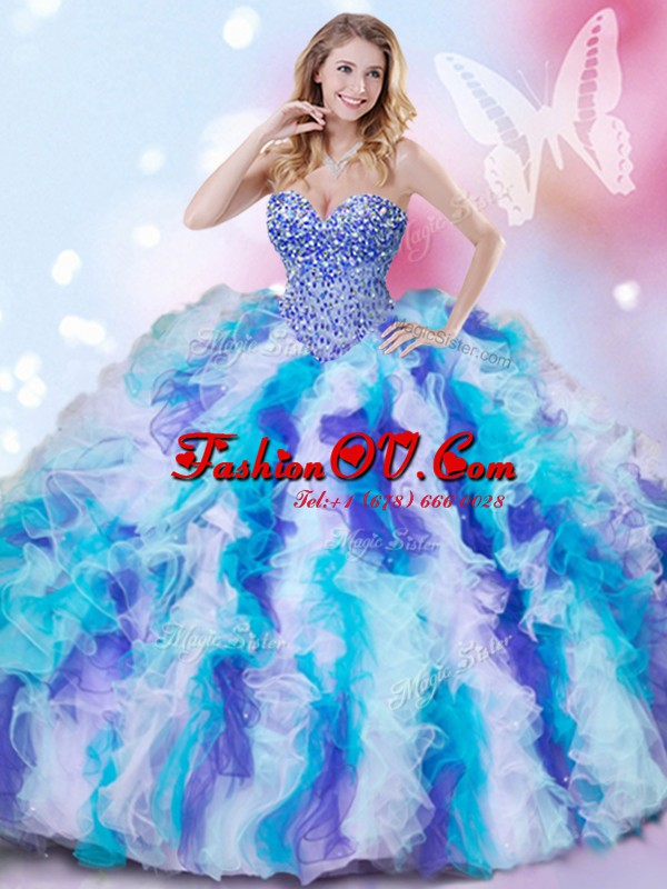 High Quality Sleeveless Beading and Ruffles Lace Up Quinceanera Gown
