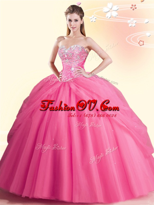 Floor Length Watermelon Red Quinceanera Gowns Sweetheart Sleeveless Lace Up