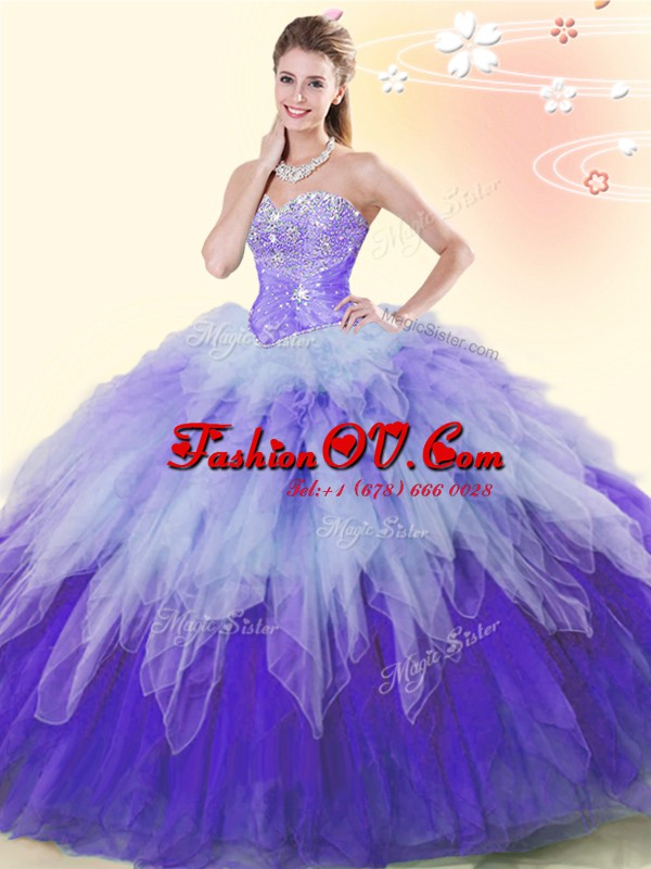 Multi-color Sleeveless Beading and Ruffles Floor Length Quinceanera Gowns