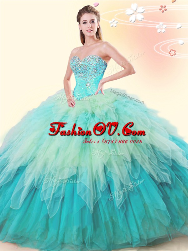 Popular Multi-color Lace Up Quinceanera Dress Beading and Ruffles Sleeveless Floor Length
