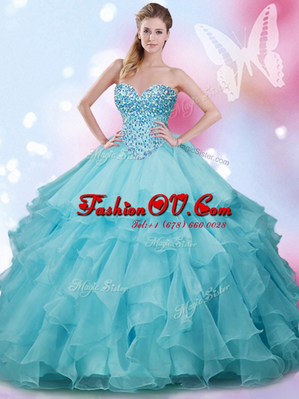 Gorgeous Sweetheart Sleeveless Lace Up Quinceanera Dresses Aqua Blue Organza