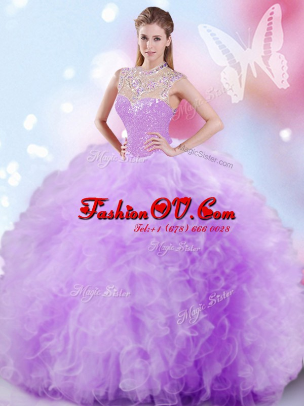 Lavender High-neck Zipper Beading and Ruffles and Sequins Ball Gown Prom Dress Sleeveless