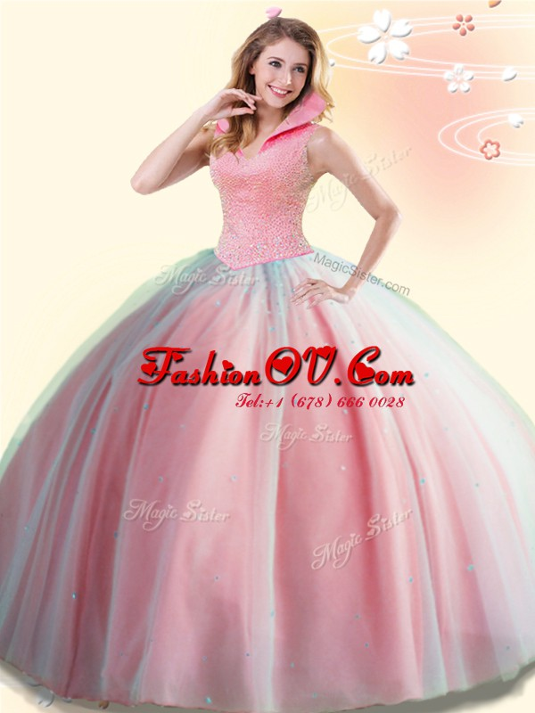 Beautiful Tulle High-neck Sleeveless Backless Beading 15th Birthday Dress in Watermelon Red
