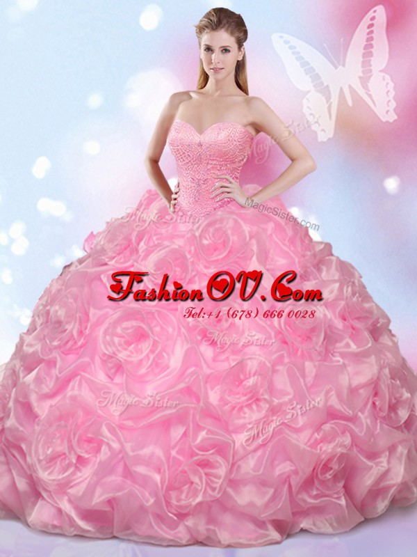 Rose Pink Ball Gowns Sweetheart Sleeveless Fabric With Rolling Flowers Floor Length Lace Up Beading 15th Birthday Dress