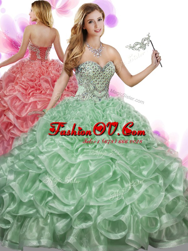Organza Sweetheart Sleeveless Lace Up Beading and Ruffles Quinceanera Dresses in Green