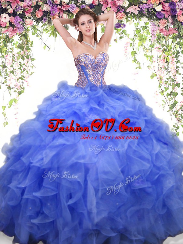 Blue Ball Gowns Organza Sweetheart Sleeveless Beading and Ruffles Floor Length Lace Up Quinceanera Gown