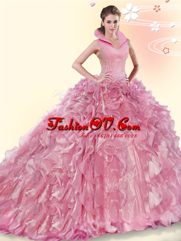 Best Pink Sweet 16 Dress High-neck Sleeveless Brush Train Backless