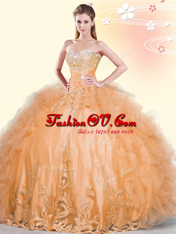 Sleeveless Lace Up Floor Length Beading and Appliques and Ruffles Quince Ball Gowns