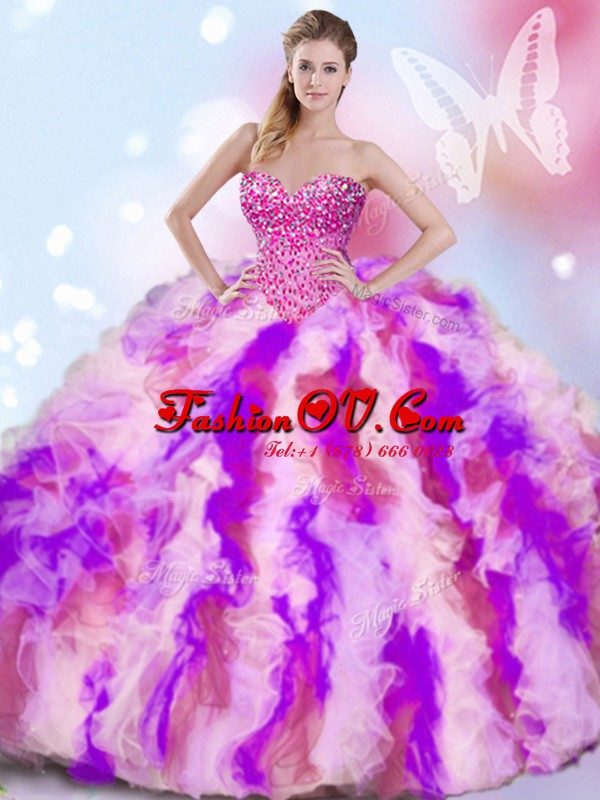 Multi-color Sleeveless Beading and Ruffles Quinceanera Dress