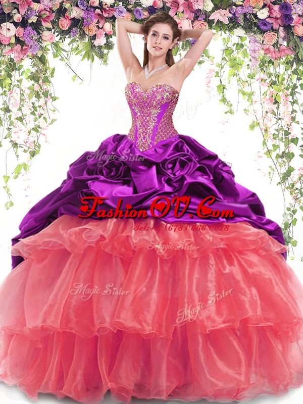 Delicate Multi-color Sweet 16 Dresses Military Ball and Sweet 16 and Quinceanera and For with Beading and Ruffled Layers and Pick Ups Sweetheart Sleeveless Brush Train Lace Up