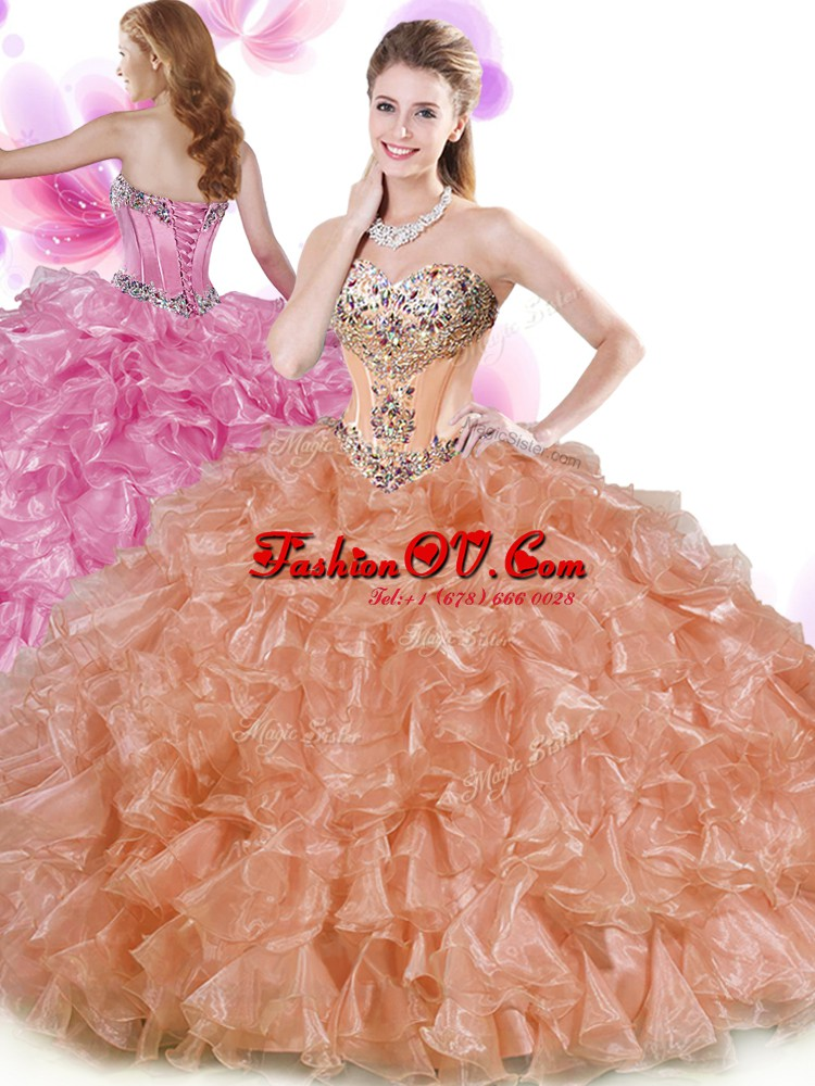Colorful Sweetheart Sleeveless Organza Quinceanera Dresses Beading and Ruffles Lace Up